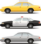 A vector illustration of a crown victoria taxi, police cruiser and plain grey sedan. (Simple gradients only - no gradient mesh.)
