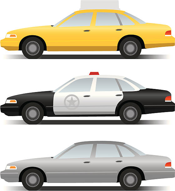 cars A vector illustration of a crown victoria taxi, police cruiser and plain grey sedan. (Simple gradients only - no gradient mesh.) police car stock illustrations
