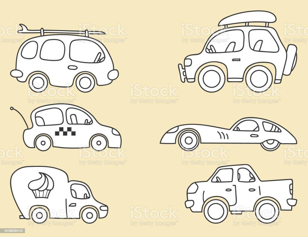 Autos Vektorbilder Fur Kinder Stilisiert Stock Vektor Art Und Mehr