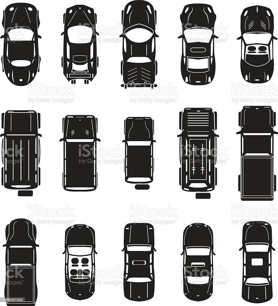 Cars vector set top view vector art illustration
