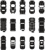 Cars vector set top view
