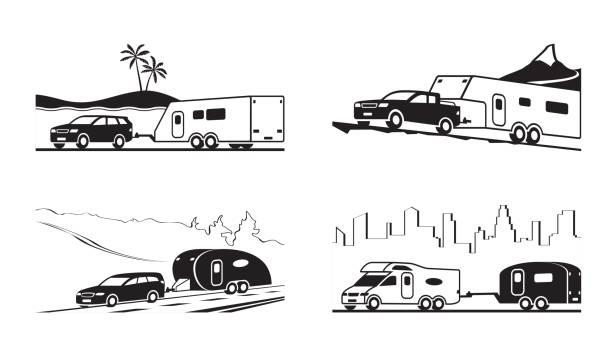 autos mit wohnwagen und wohnmobil - wohnwagenanhänger stock-grafiken, -clipart, -cartoons und -symbole