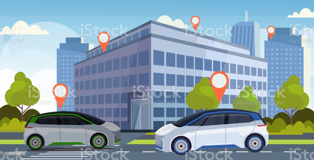 cars with location pin on road online ordering taxi car sharing...