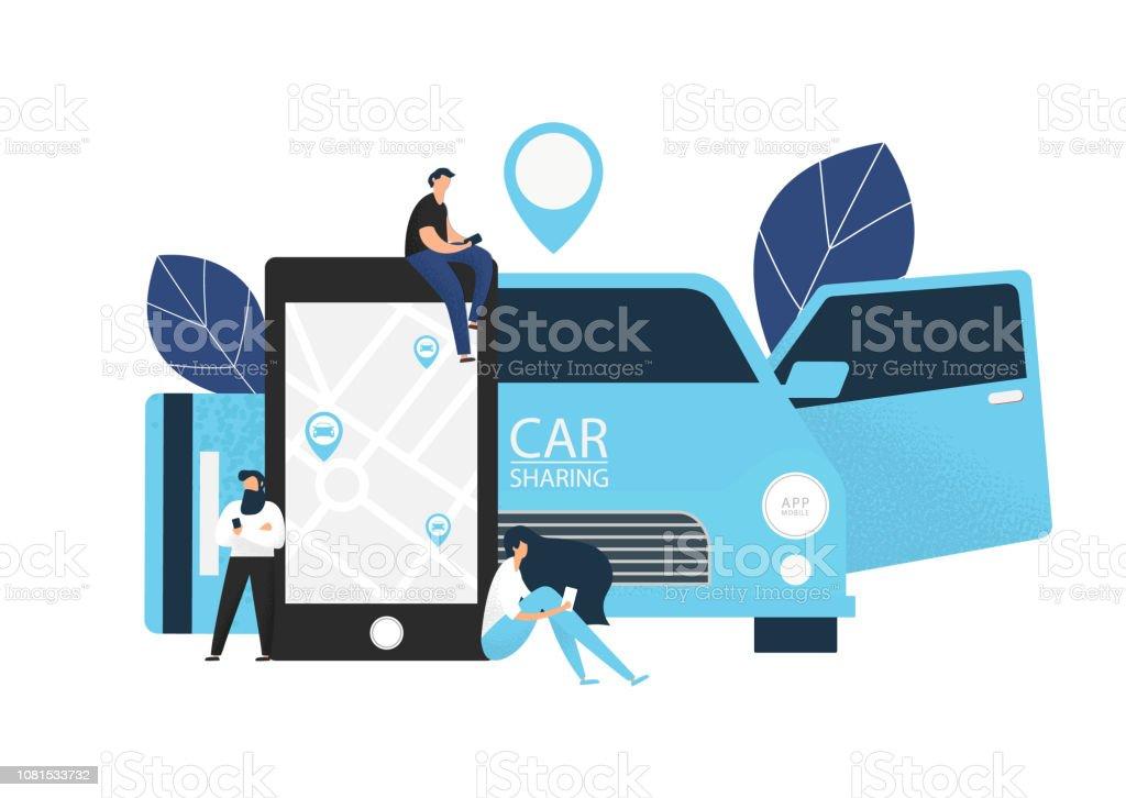 Concepto de Carsharing. Ilustración de vector. - ilustración de arte vectorial