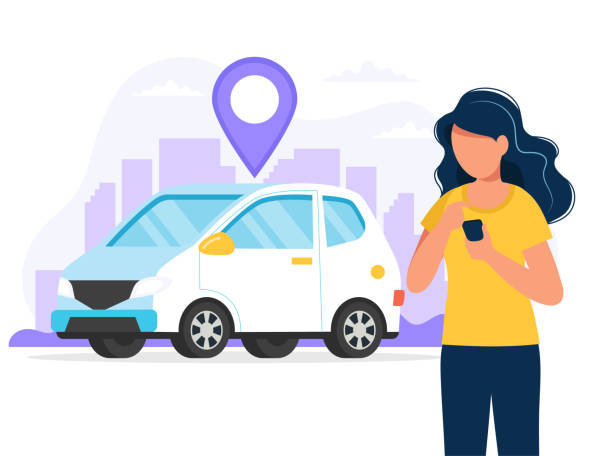 Carsharing concept. Woman with smartphone with an app to find a car location. Car rental service via mobile app. Vector illustration in flat style vector art illustration