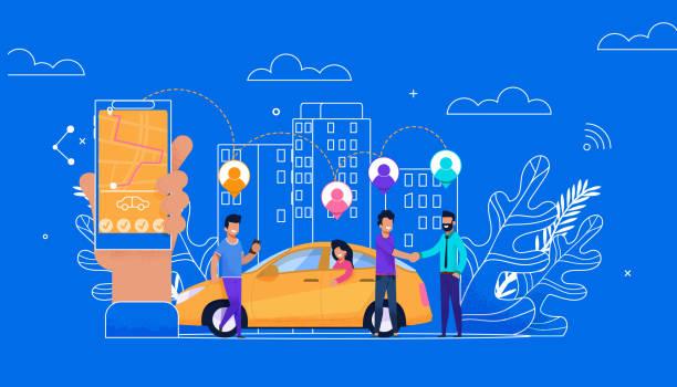 illustrations, cliparts, dessins animés et icônes de carsharing en ligne simple plat. caractère passager - covoiturage