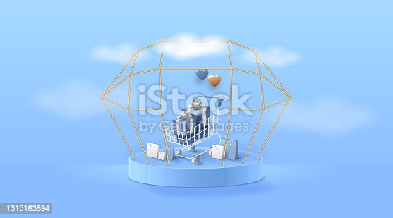 istock Cart shopping on Stage or podium for product presentation or showcase on Cyan background. 1315163894