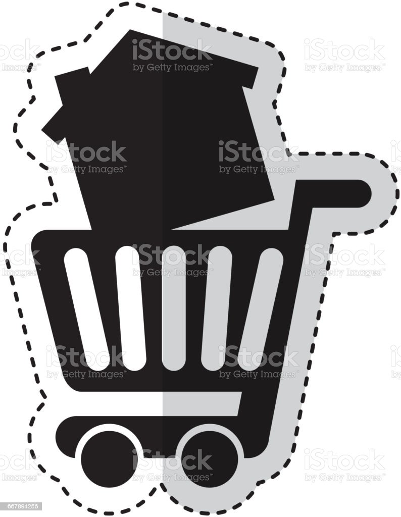 cart shopping with house isolated icon royalty-free cart shopping with house isolated icon stock vector art & more images of architecture