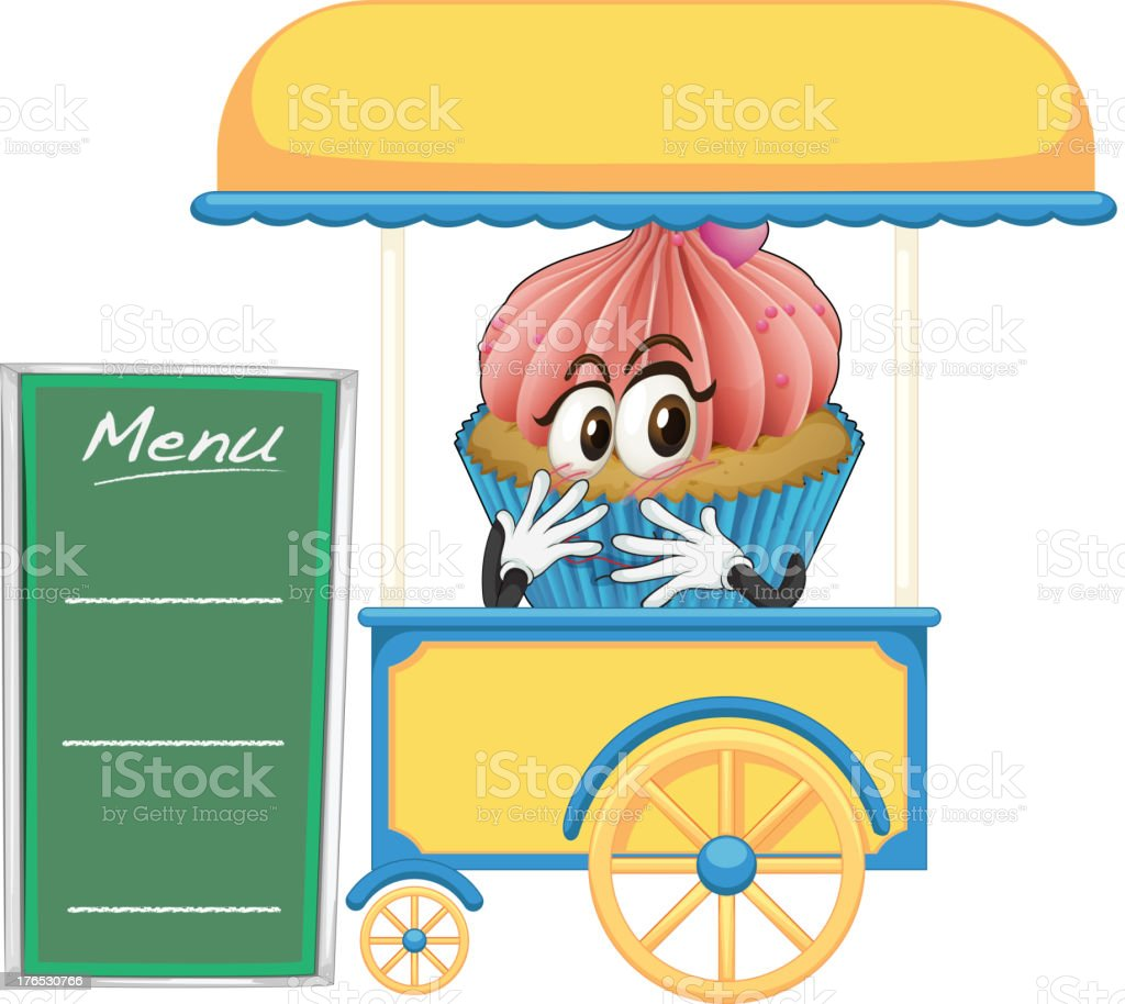 Cart stall and a cupcake royalty-free stock vector art