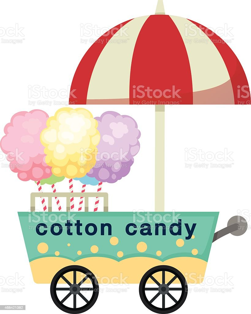 cart stall and cotton candy vector vector art illustration