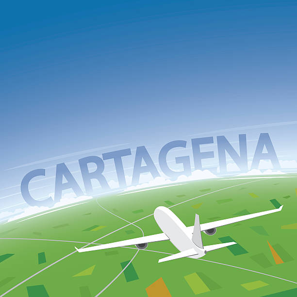 cartagena flight destination - cartagena stock-grafiken, -clipart, -cartoons und -symbole