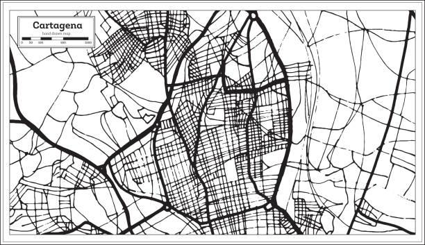 cartagena spanien stadtplan im retro-stil. der umriß. - cartagena stock-grafiken, -clipart, -cartoons und -symbole