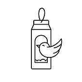 Carton bird feeder. Linear icon of DIY birdhouse. Black illustration of handmade street house for feeding birds from milk or juice package. Upcycled Craft. Contour isolated vector, white background