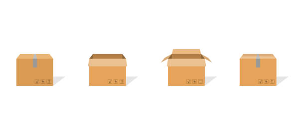 ilustrações de stock, clip art, desenhos animados e ícones de carton box container set. package delivery parcel with scotch and fragile sign. open and closed carton pack with shadow. warehouse symbol in flat design. brown cardbox. vector eps 10. - cardboard box
