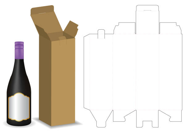 bildbanksillustrationer, clip art samt tecknat material och ikoner med kartong box tonplattor för flaska paketet mockup - wine box