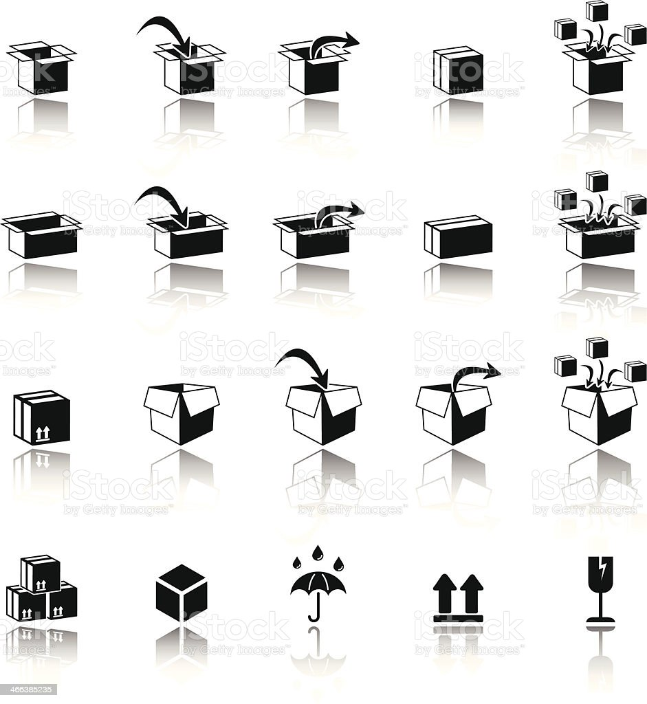 Carton box nad packaging icons vector art illustration