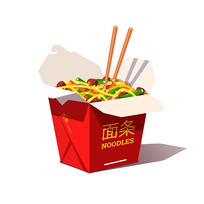 Carton box noodles with veggies and wok fried pork. Oriental Chinese and Japanese food. Flat style vector