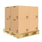 istock carton box on pallet 1201074216