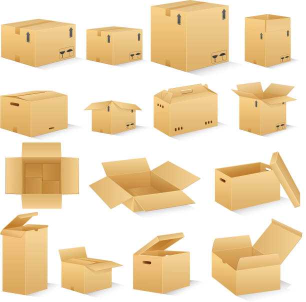 Carton Box vector illustration of different shape carton box flapping wings stock illustrations