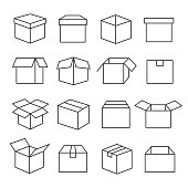 Carton boxes icon set