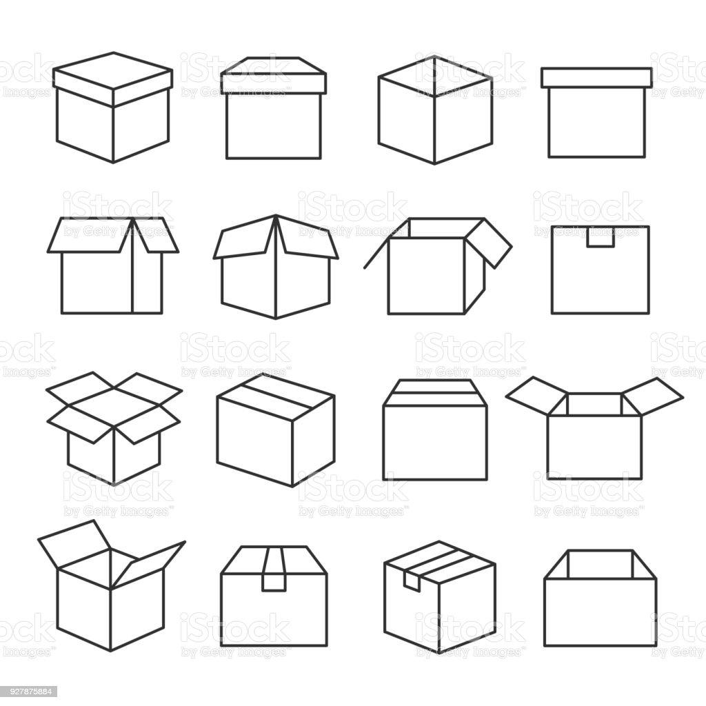 Jeu d'icônes boîtes carton - Illustration vectorielle