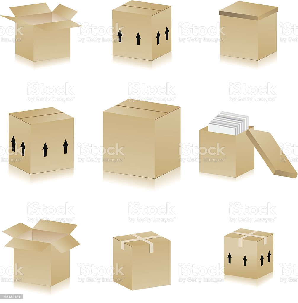 carton boxes royalty-free carton boxes stock vector art & more images of box - container