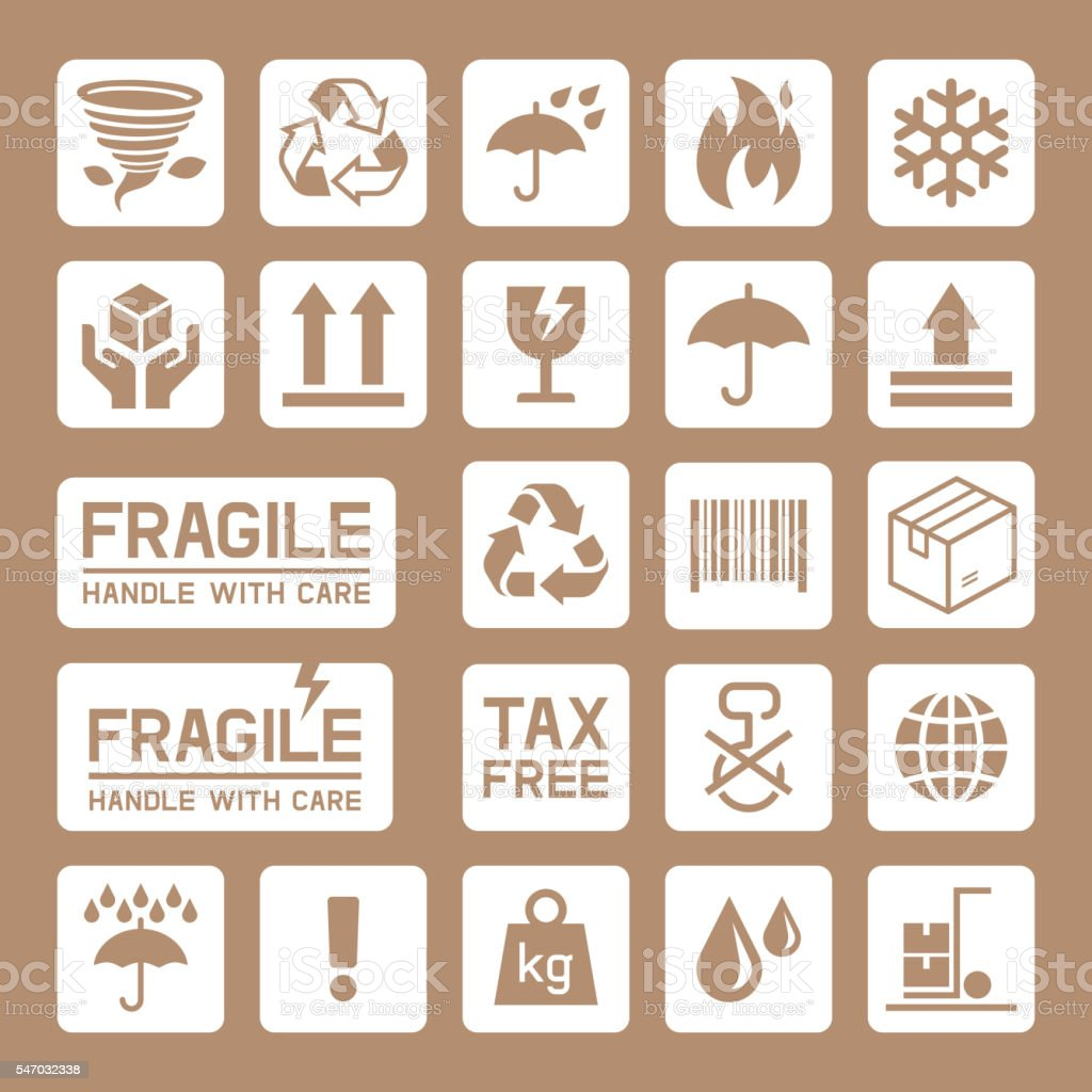 Carton Cardboard Box Icons. vector art illustration