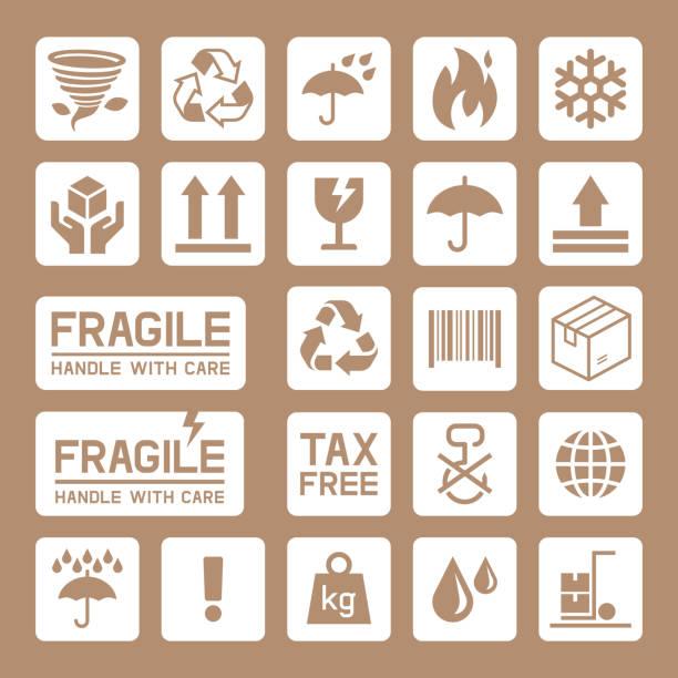Kartonverpackung Pappkarton Symbole. – Vektorgrafik