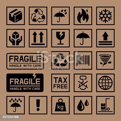 istock Carton Cardboard Box Icons. 547034266