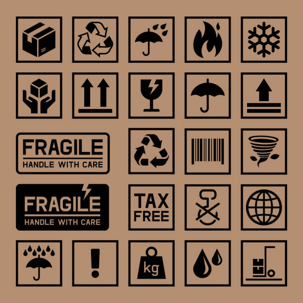 stockillustraties, clipart, cartoons en iconen met carton cardboard box icons. - gebroken bord