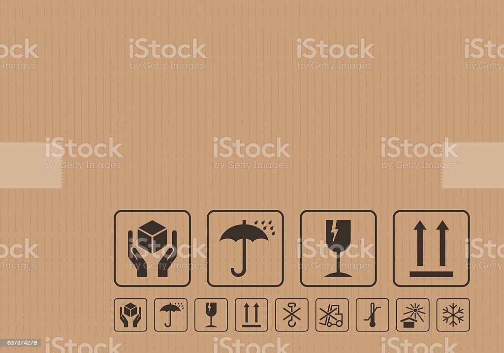 Carton cardboard box icons vector art illustration
