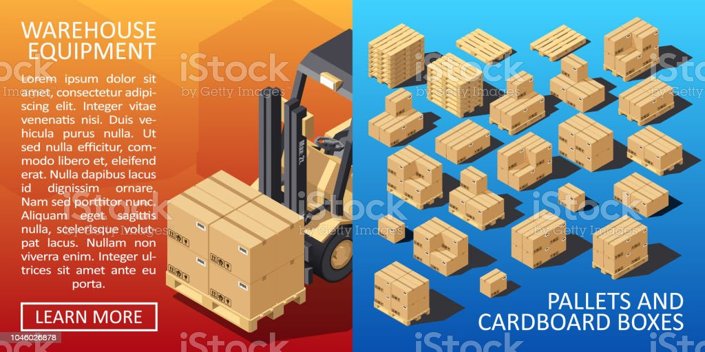 Boxes on Wooded Pallet Isometric Style Warehouse Cardboard Parcel...
