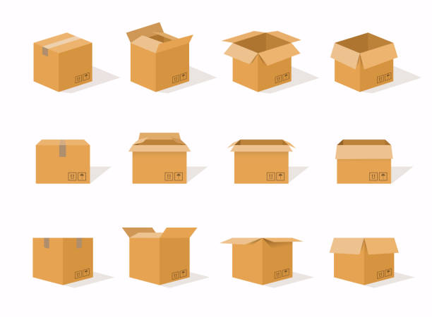 Carton delivery packaging open and closed box with fragile signs. Cardboard box mockup set. Carton delivery packaging open and closed box with fragile signs. Cardboard box mockup set. package stock illustrations