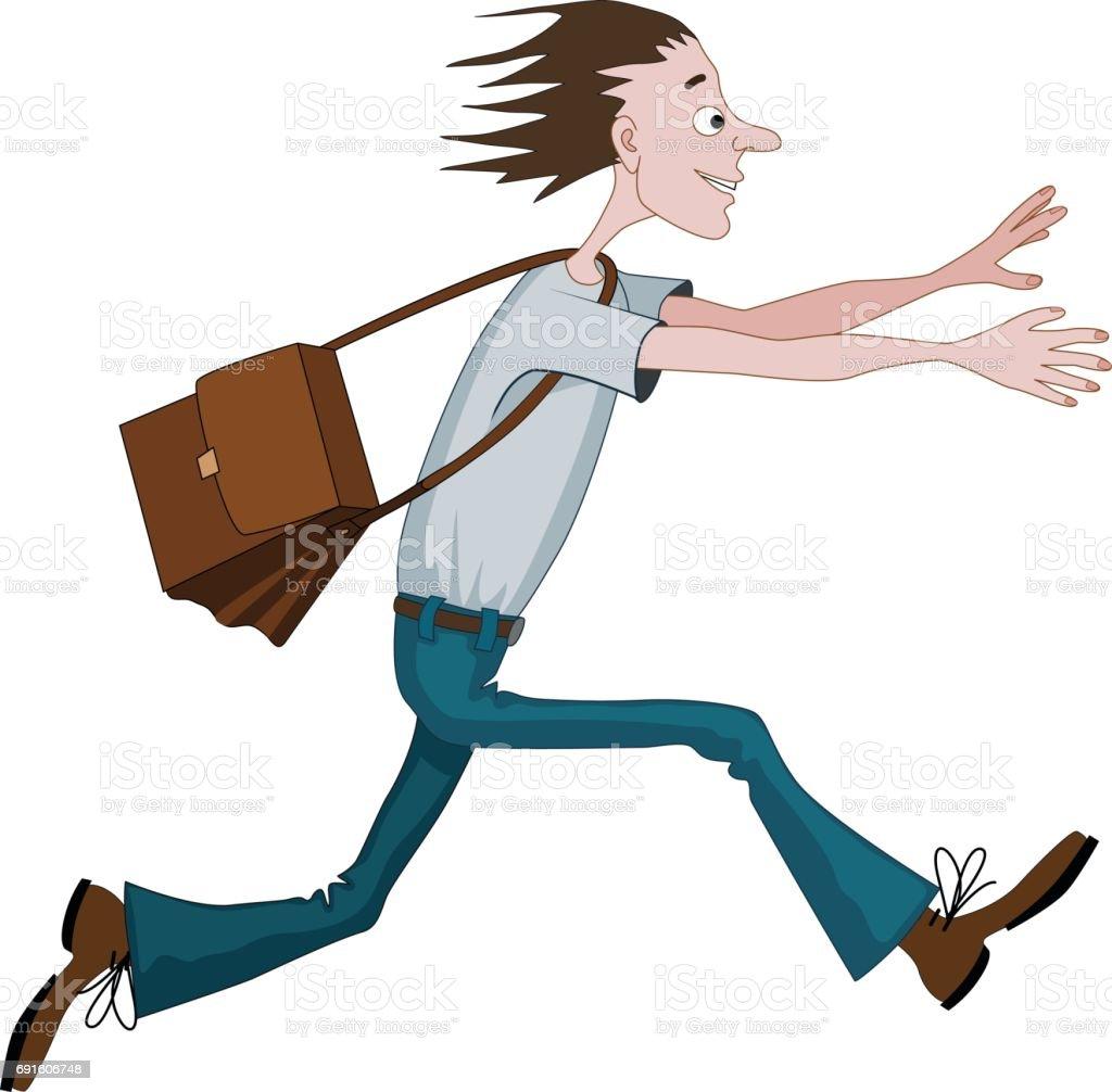 Karton çanta Doğru Bir şey Ya Da Kimse Ile Hızlı Koşan Adam Stok