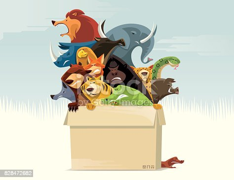 vector illustration of carton of angry wild animals…