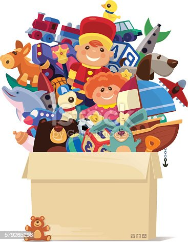 vector illustration of carton of toys…