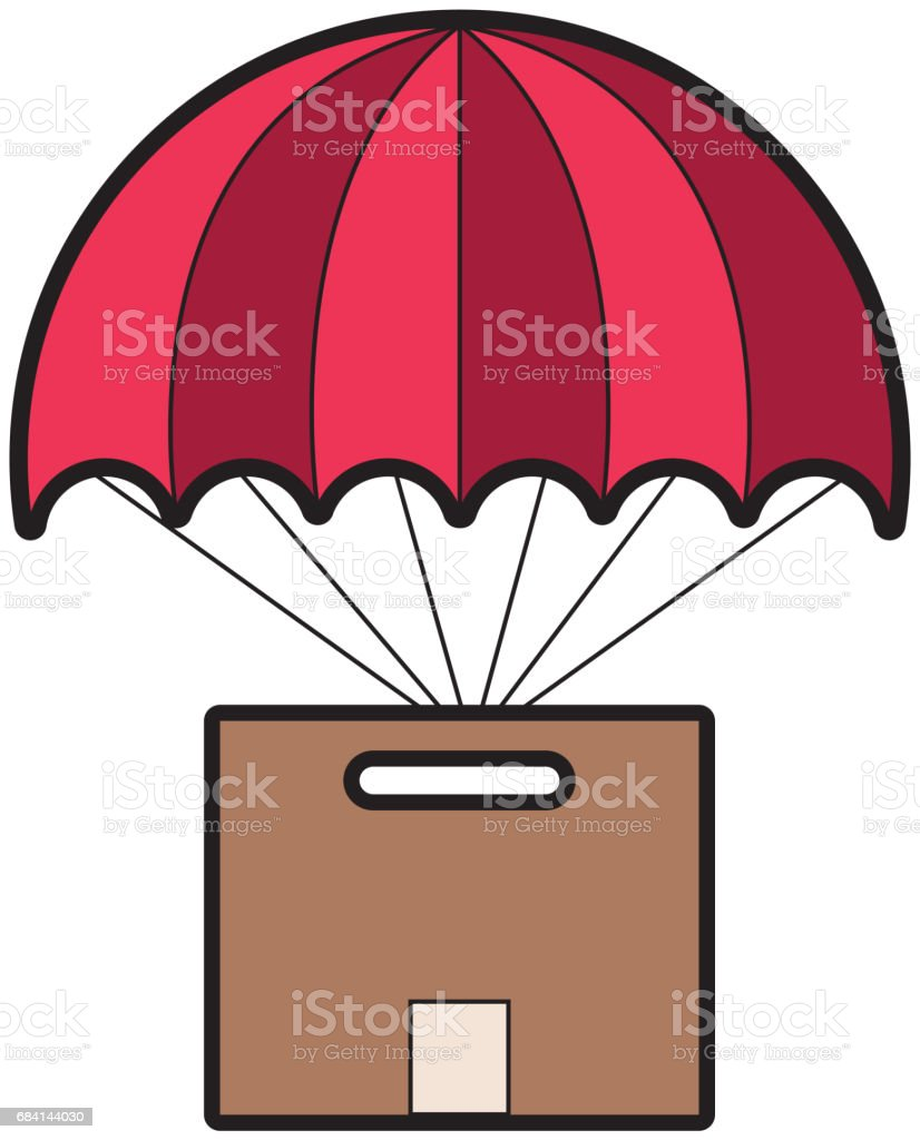 carton packing box with parachute icon royalty-free carton packing box with parachute icon stock vector art & more images of blackboard
