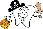 Carton tooth dressed as a pirate while trick or treating.