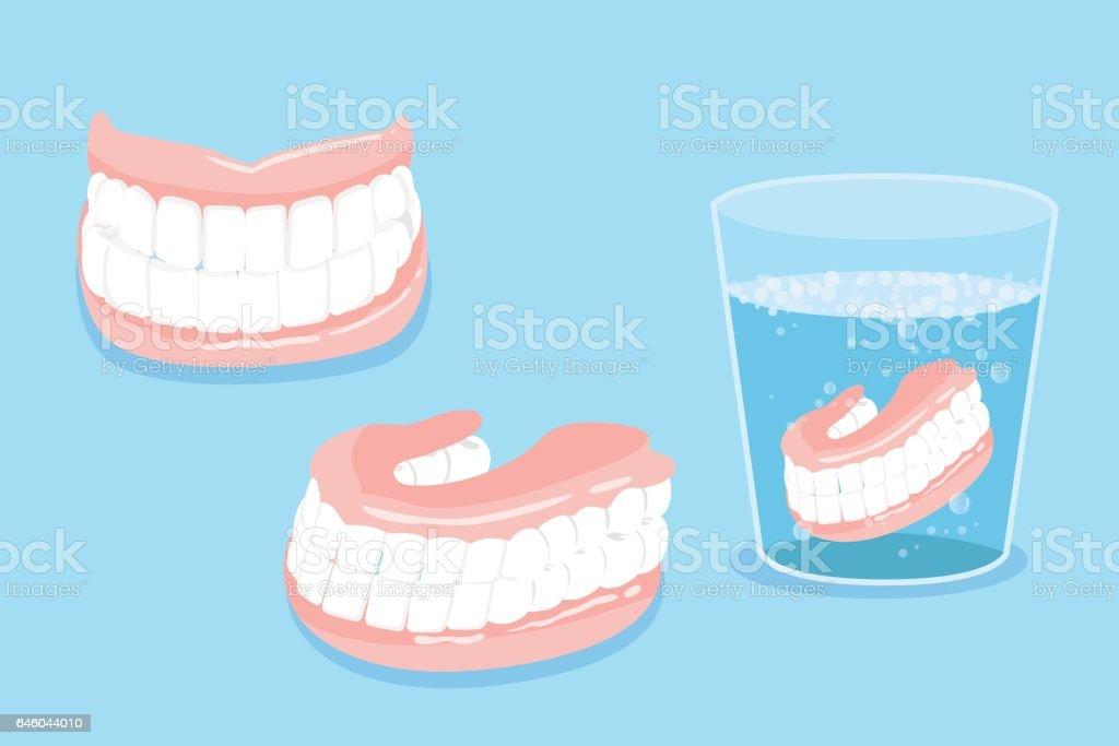 cartoo denture vector art illustration