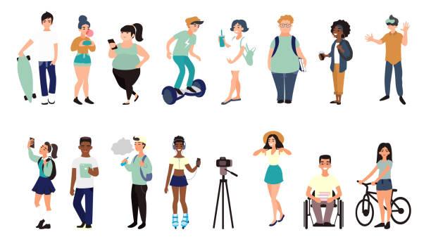 illustrations, cliparts, dessins animés et icônes de toile plate multiraciales ados. groupe d'étudiants internationaux avec des gadgets. - hipster personne