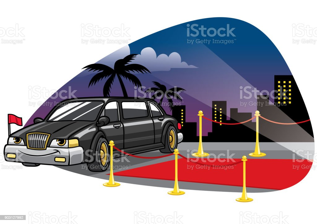 cartoom limousine car at the red caret vector art illustration