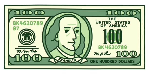cartoon 100 dollar bill - dollar bill stock illustrations
