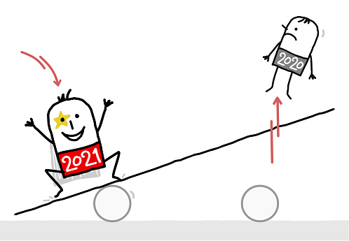 Cartoon 2021 Super Hero Jumping on a teeter board, and Bumping off a 2020 man