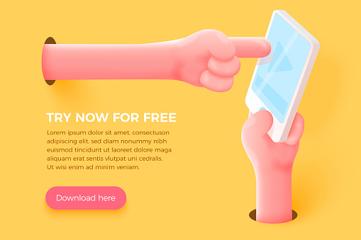 Cartoon 3d realistic hand holding cell phone