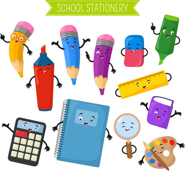 cartoon 3d vector characters of school writing stationery - ołówek stock illustrations
