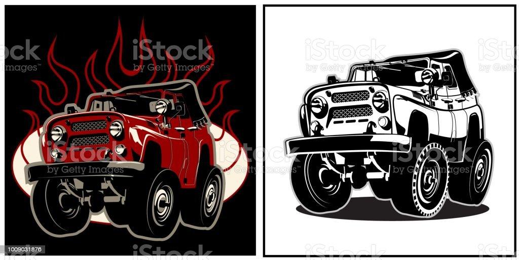 ilustração de carro de desenho animado 4x4 e mais banco de imagens