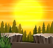Cartoon a nature sunset scene background