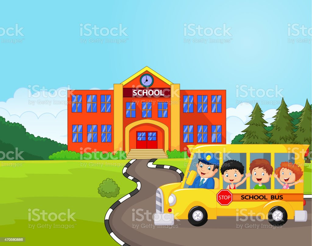 Cartoon A School Bus And Kids Infront Of School Stock Illustration