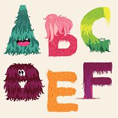 Cartoon ABCDEF letters