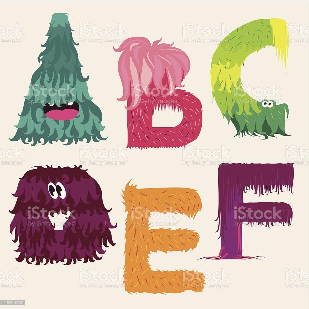 Cartoon ABCDEF font characters vector art illustration